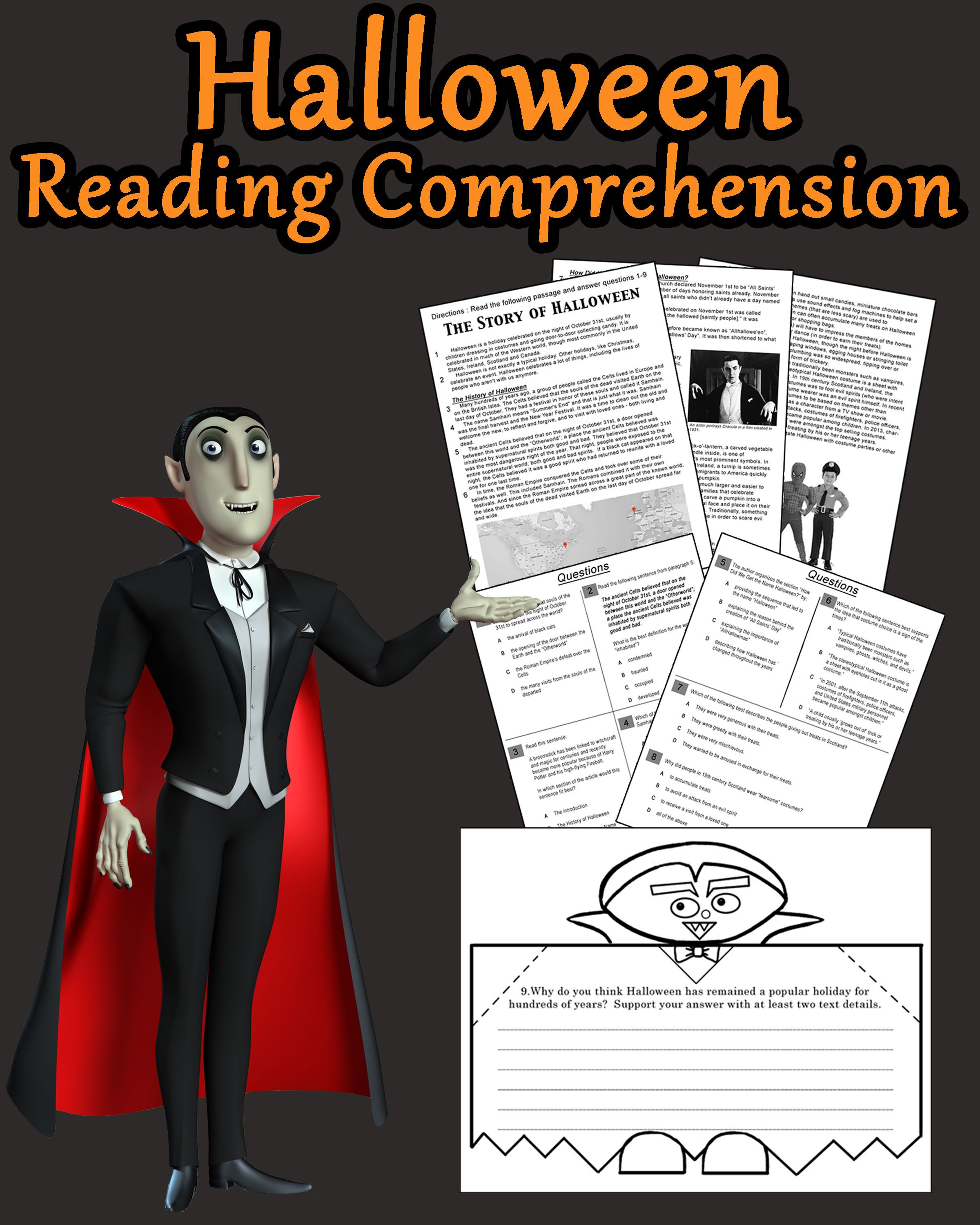 """We've put a twist on test prep by incorporating a Halloween Reading Comprehension Passage with a Foldable Craft! No """"drill and kill"""" here!  The students will be required to do a """"close read"""" of the informational text entitled """"The History of Halloween"""". The reading is followed by 8 multiple choice questions that reflect the Common Core Standards, and a short response question that requires text based evidence."""