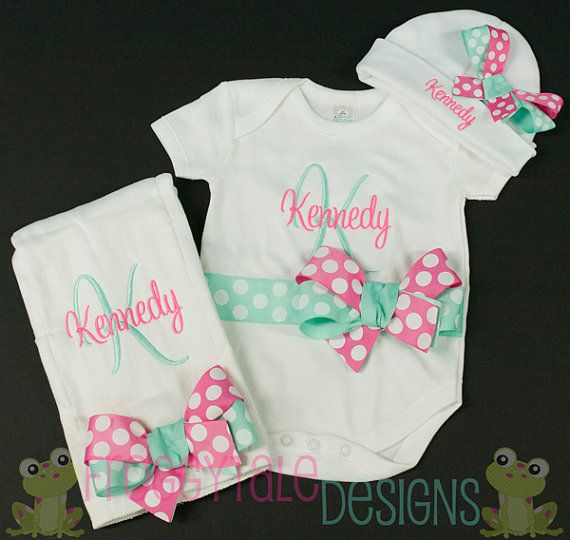 Personalized Embroidered Baby Onepiece Bodysuit and Cap Block and Dots Monogram