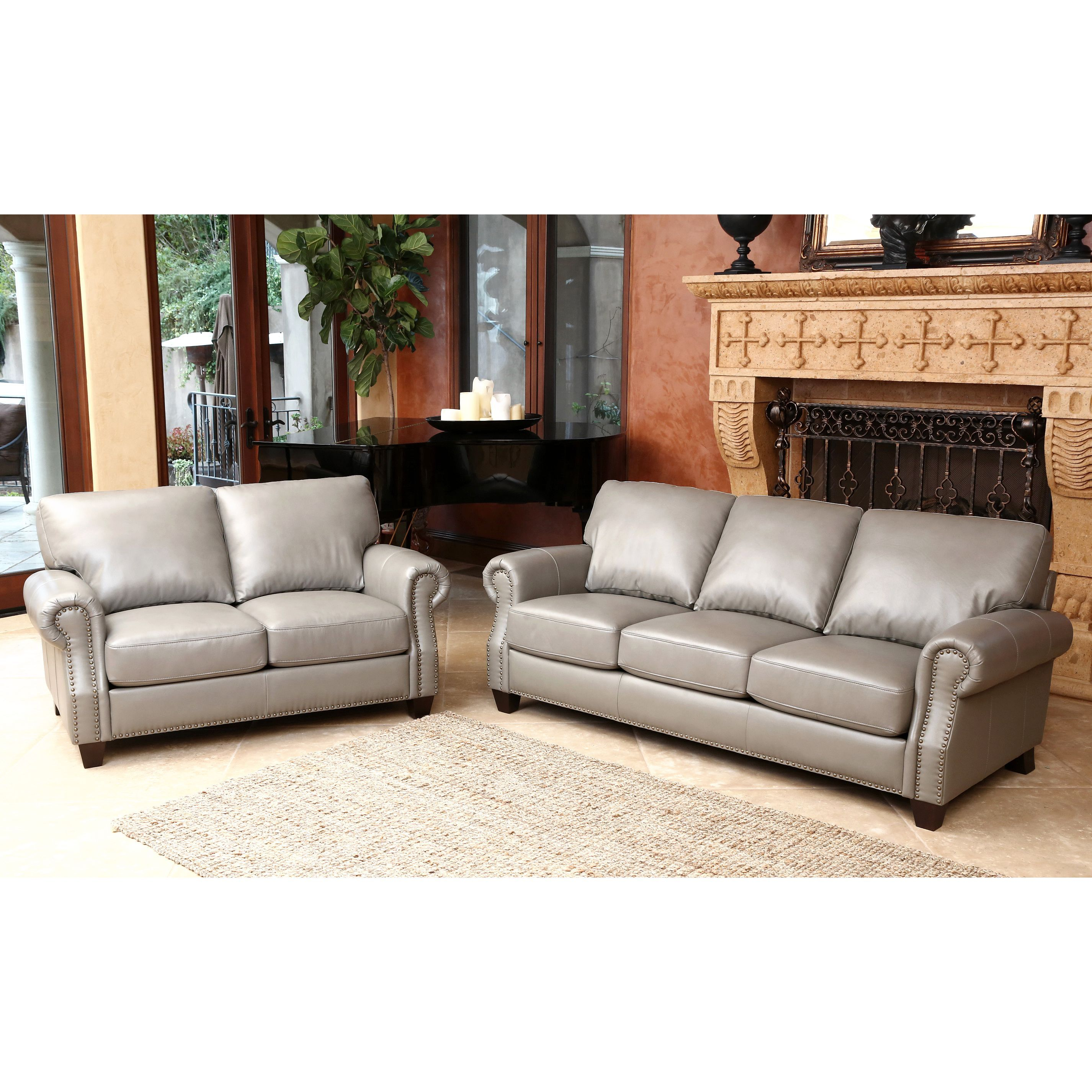 Leather Nailhead Sofa Set Best Sectional Recliners Grey Top Grain Gives This Abbyson Living Landon