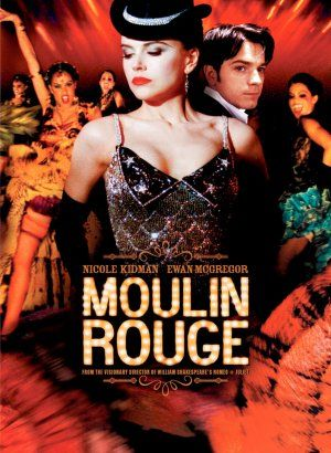 Moulin Rouge (2001) A poet falls for a beautiful courtesan whom a jealous duke covets in this stylish musical, with music drawn from familiar 20th century sources.  Nicole Kidman, Ewan McGregor, John Leguizamo...30