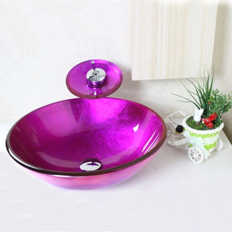 Buy Victory Round Purple Tempered Glass Vessel Sink With Waterfall Faucet,  Mounting Ring And Water