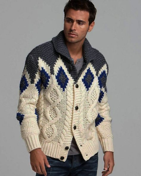 MADE TO ORDER men hand knitted cardigan turtleneck sweater cardigan ...