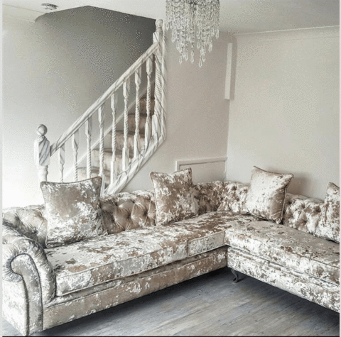 A Victoria Collection Corner Sofa House Of Sparkles Exclusive Sofa Cru Crushed Velvet Sofa Living Rooms Velvet Sofa Living Room Crushed Velvet Living Room