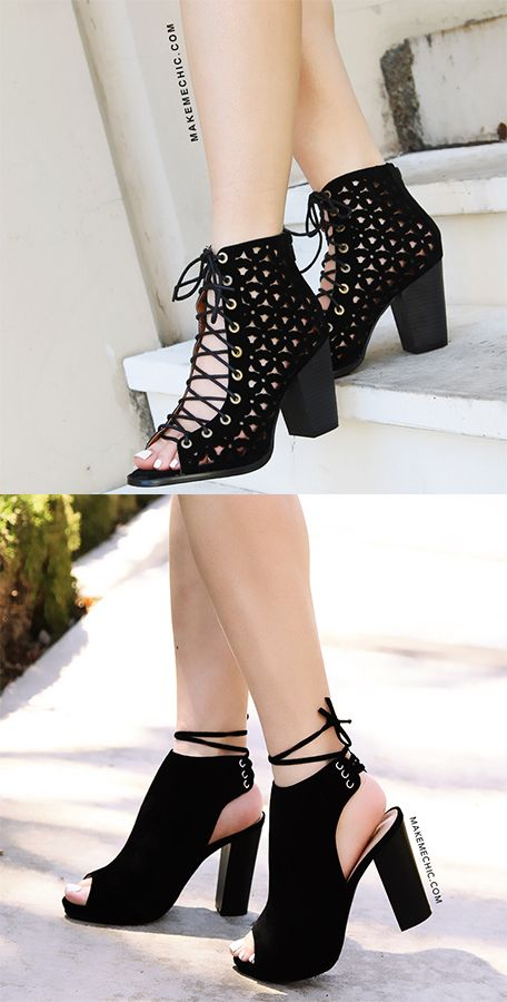 764f516d10d8 Peep Toe Chunky Heel Ankle Boots BLACK