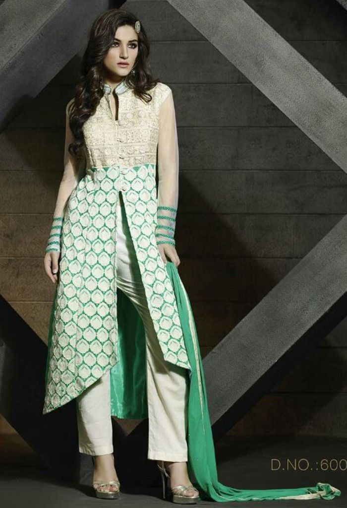 Exclusive Green Georgette Salwar Kameez With Embroidery Work 35609