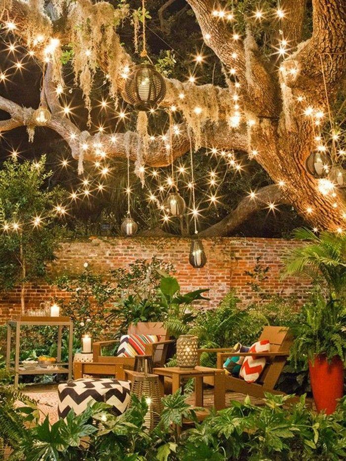Schöner Garten Mit Beleuchtun Hängelampen
