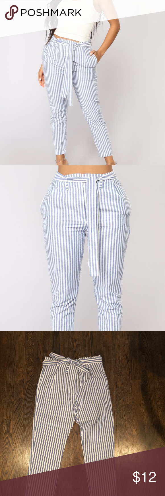 Fashion Nova Striped Pants Blue Fashion, Fashion nova