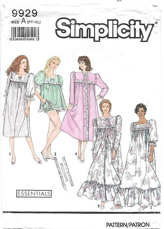 Simplicity 9929 Misses 90s Baby Doll Pajamas and Nightgown and Robe ...