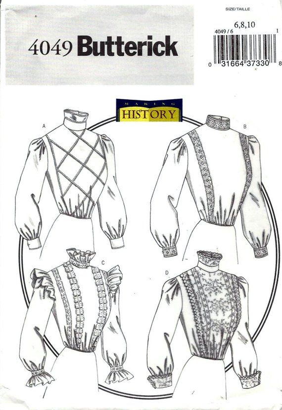 Butterick 4049 Sewing Pattern Misses Historical Edwardian Victorian ...