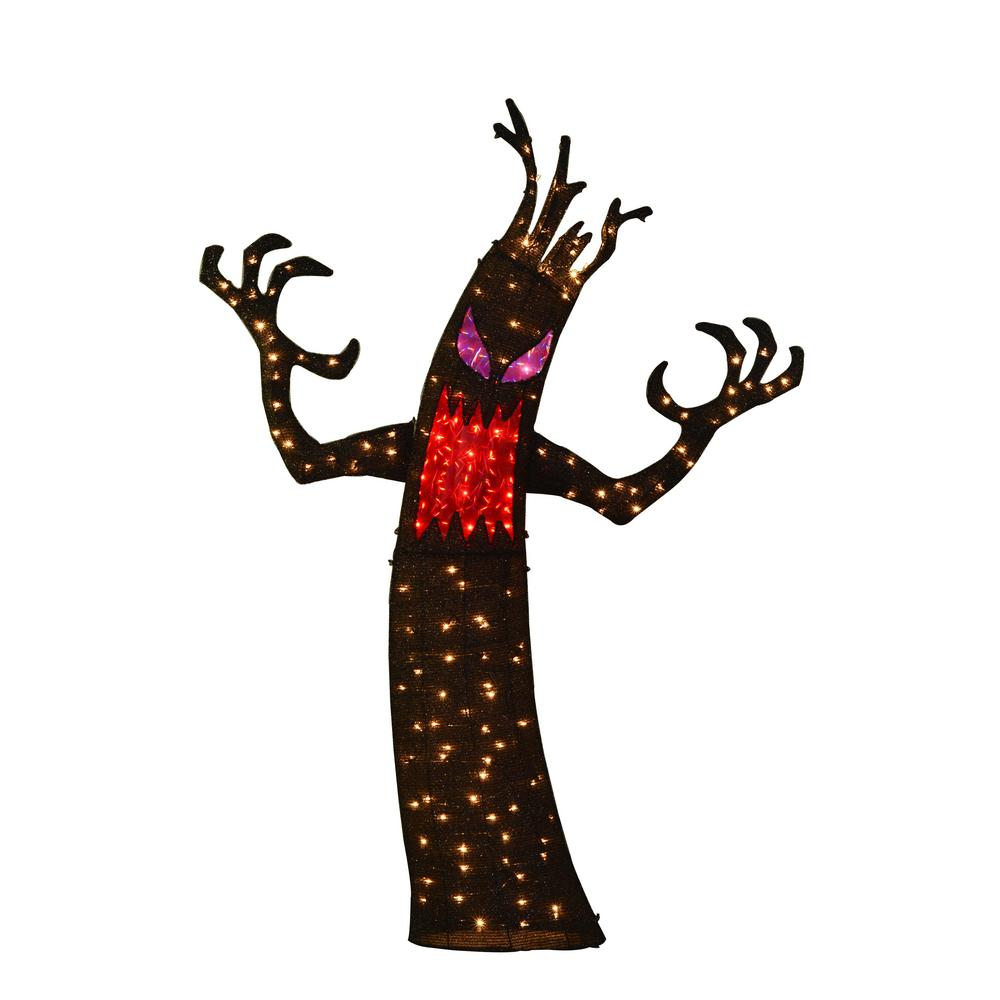 Over 150 lights illuminate this tinsel ghost tree for a fun and ...