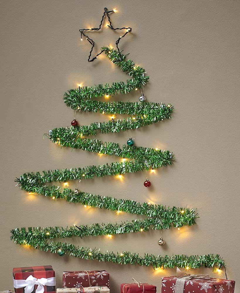 Lighted Tinsel Christmas Wall Tree Wall Christmas Tree Unique Christmas Trees Creative Christmas Trees