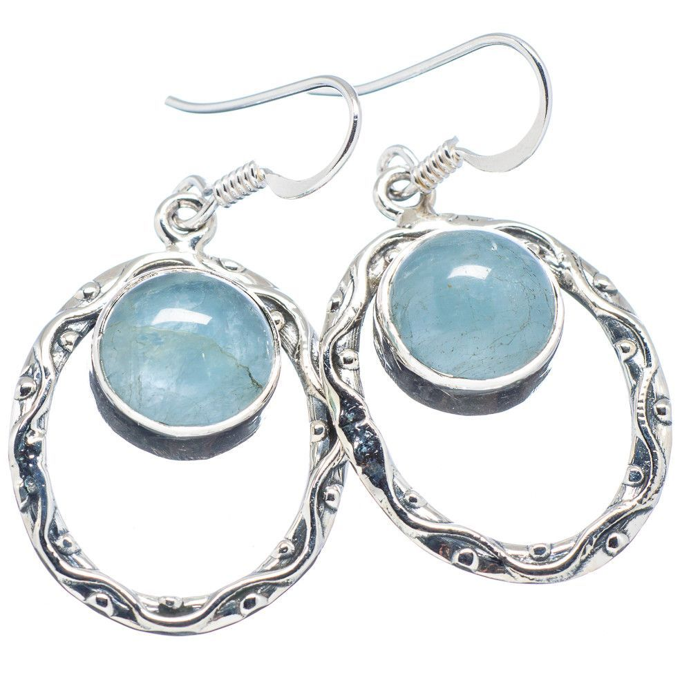 "Natural Aquamarine 925 Sterling Silver Earrings 1 1/2"" EARR320886"