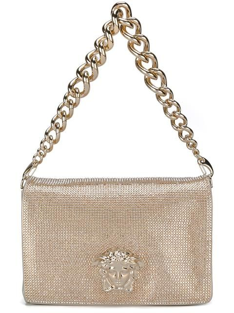VERSACE Palazzo Medusa studded sultan bag. #versace #bags #shoulder bags #leather #polyester #crystal #