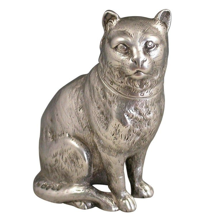 Victorian Novelty Antique Cast Silver Cat Pepper, By E H