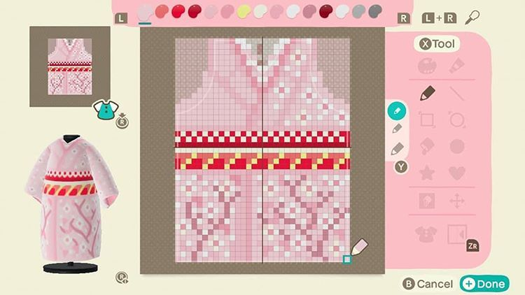 The Kualtka Sur Instagram As Requested The Pixel Work To My Cherry Blossom Kimono Design Animal Crossing Game Animal Crossing Qr Animal Crossing