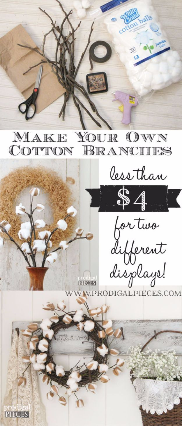 Best country decor ideas diy cotton branches rustic farmhouse
