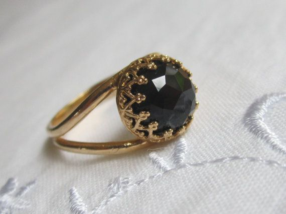 Gold Ring With Black Stone Art Deco Stretch Ring With Black Stone