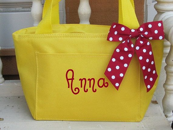Monogrammed Bright Yellow Insulated Lunch Bag by AbbysInspiration, $11.75