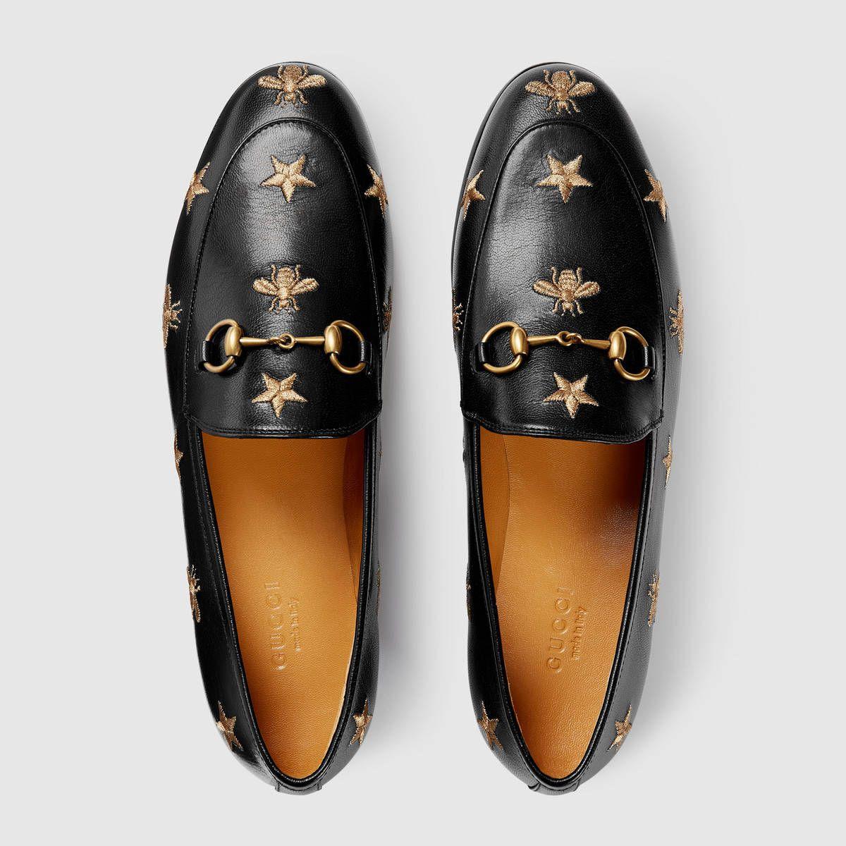 2448a1799 Gucci Gucci Jordaan embroidered leather loafer Detail 3 Calçados Oxford,  Plataforma Sapato, Marcas De