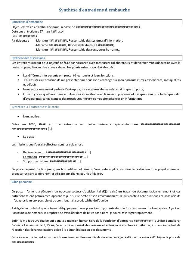 Exemple concret rédiger une synthèse d'entretien d ...