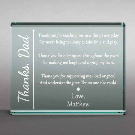 Personalized Thanks To Him 4 inch x 5 inch Glass Keepsake, Clear