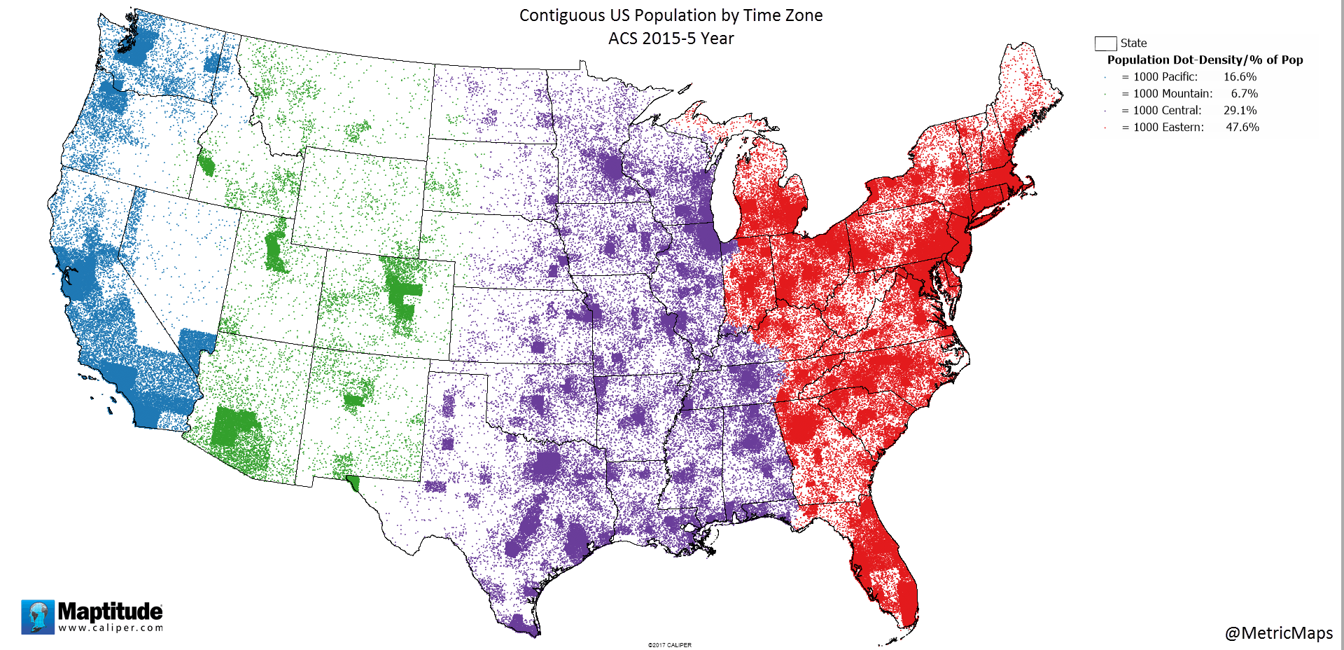 united states time zone map 2017 Contiguous Us Population By Time Zone Time Zones Map Eastern