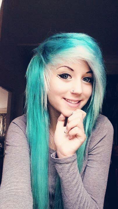 blue teal aqua scene emo hair