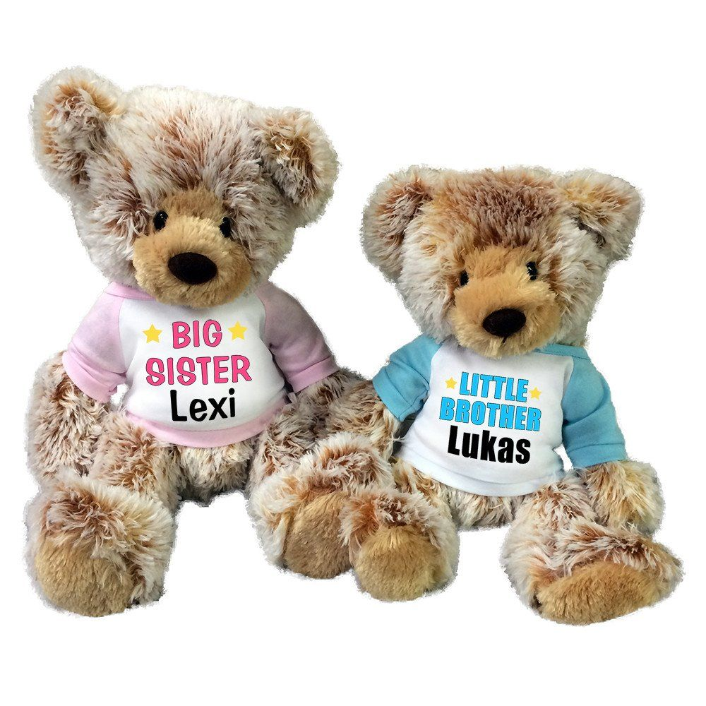 Big sister little brother personalized teddy bears set of 2 big sister little brother personalized teddy bears set of 2 caramel bears negle Gallery