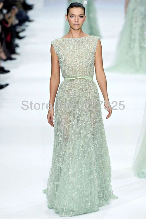 LK265 a classic bateau neckline fully embroidered dress elie saab ...