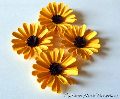 How To Make Yellow Daisy Paper Flowers ~ My Memory Verses