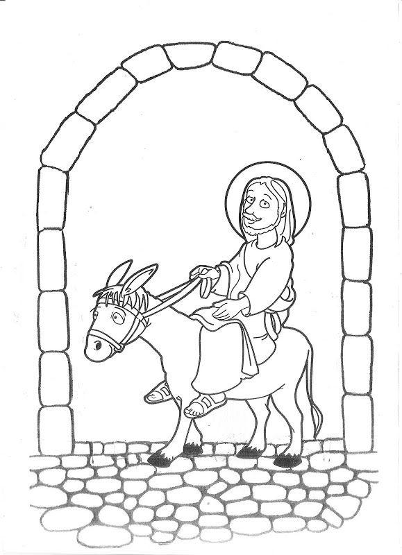 Jesús En Burro Entrando A Jerusalén Para Colorear Sol Capulina