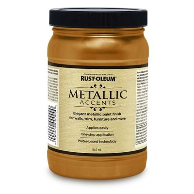 Rust-Oleum 32 Fluid Oz. Gold Mine Semi-Gloss Metallic Latex Interior/Exterior Paint
