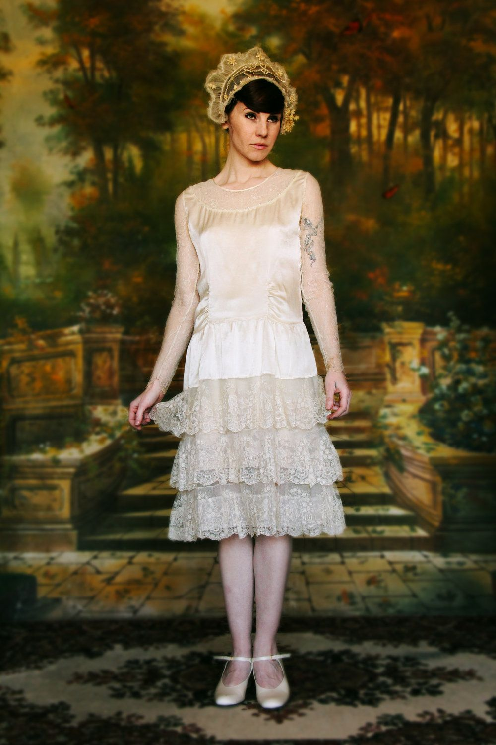 reserved........Antique 1920s Flapper Wedding Gown . Head Piece and ...