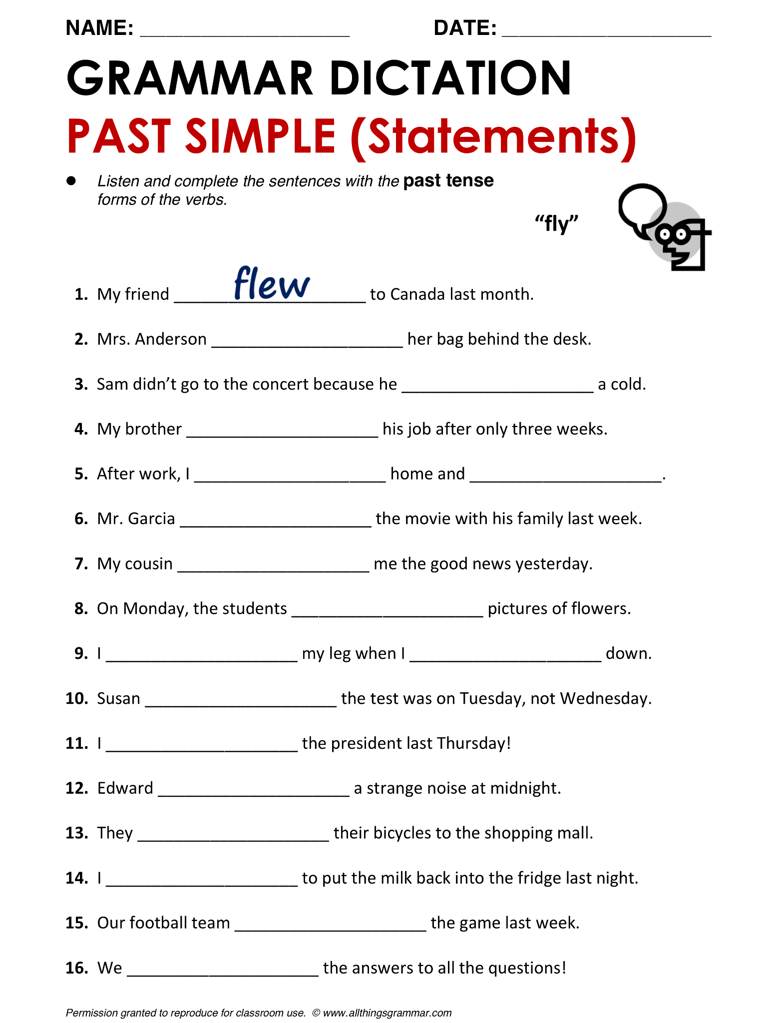 English Grammar Past Simple allthingsgrammarpastsimple – Basic Grammar Worksheets