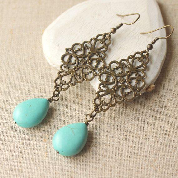 turquoise dangle earrings very long turquoise drop