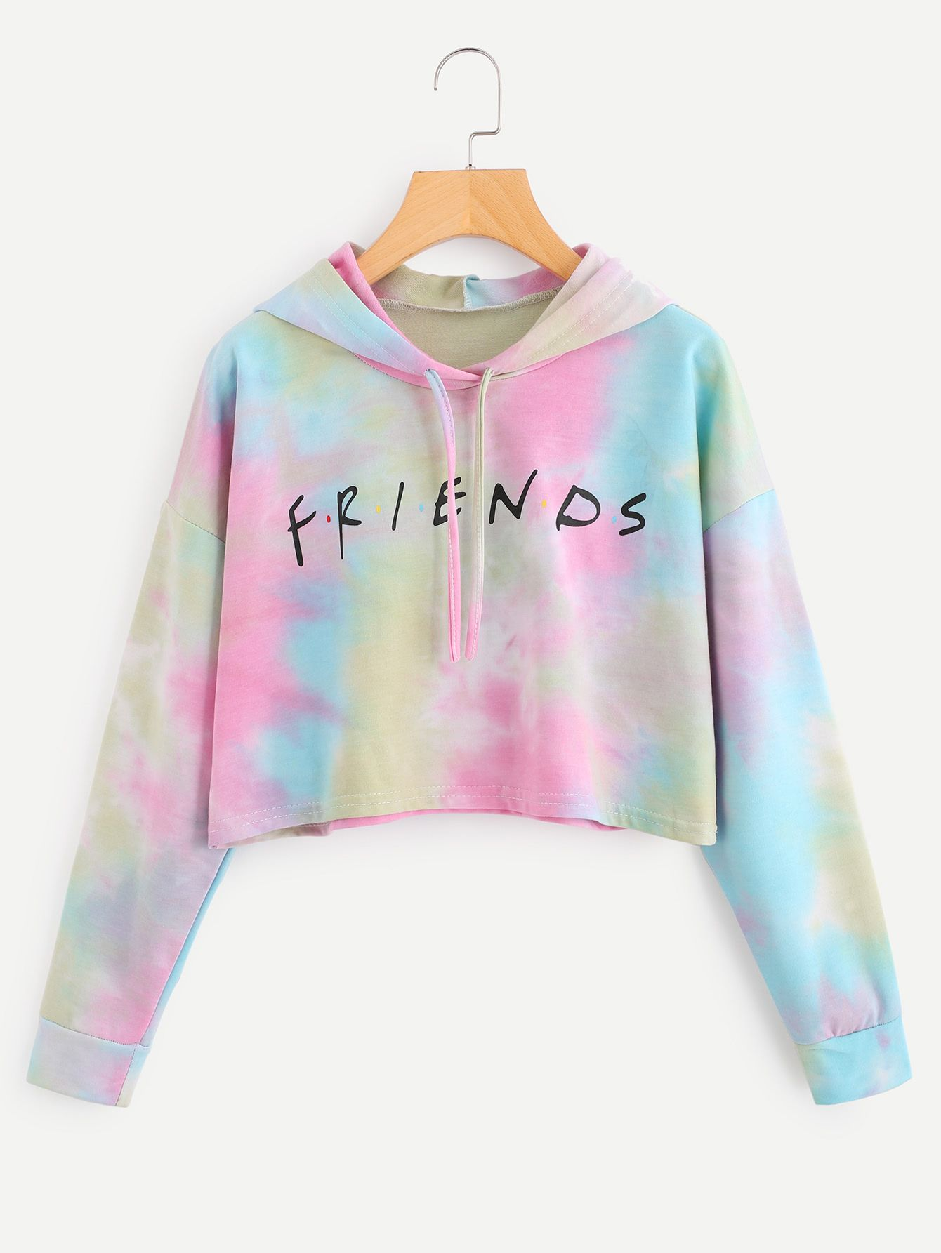 Shop Letter Print Water Color Hoodie Online Shein Offers Letter