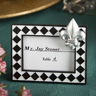 Personalized Silver Brushed Heart Place Card Frame Engraved Name Date