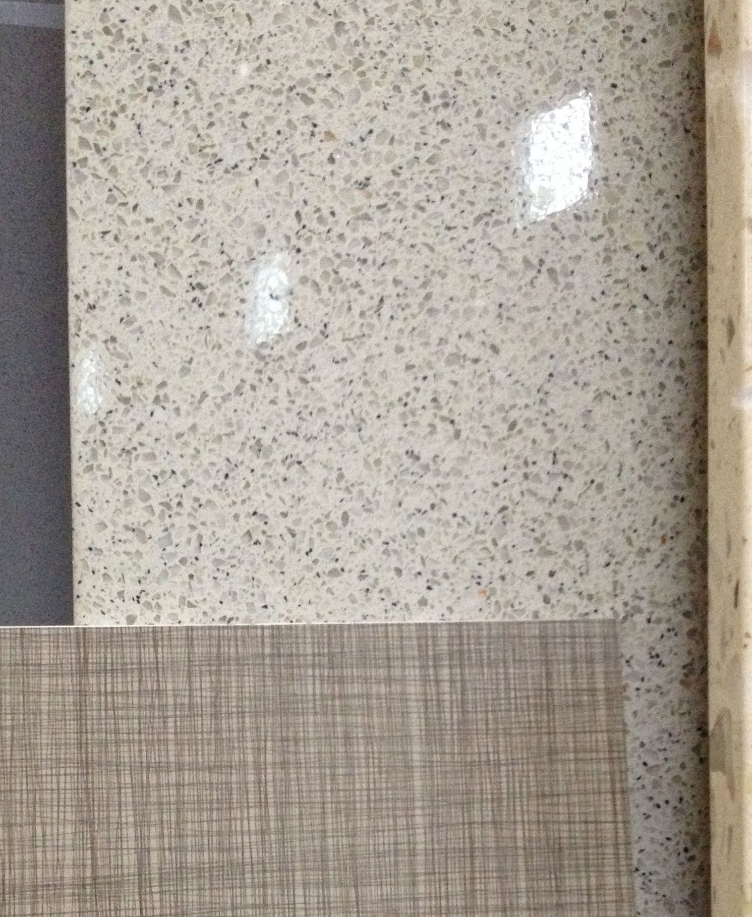 Quartz Countertop, Grassland Color, From Rainbow Stone (shown With Sample  Of Floor And