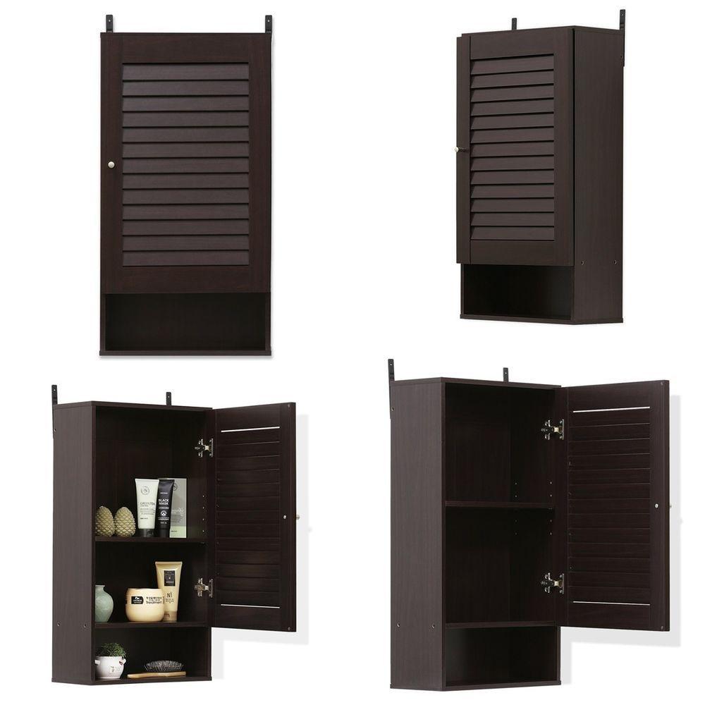 Medium espresso wall mounted cabinet storage organizer home office ...
