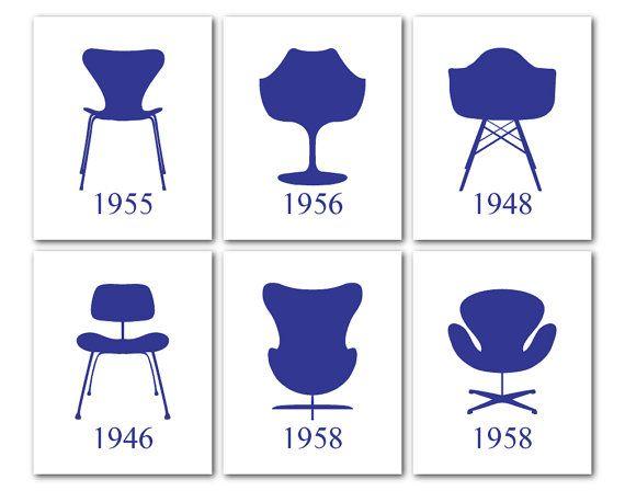Mid Century Modern Chairs - Furniture Art - Set of 6 ...