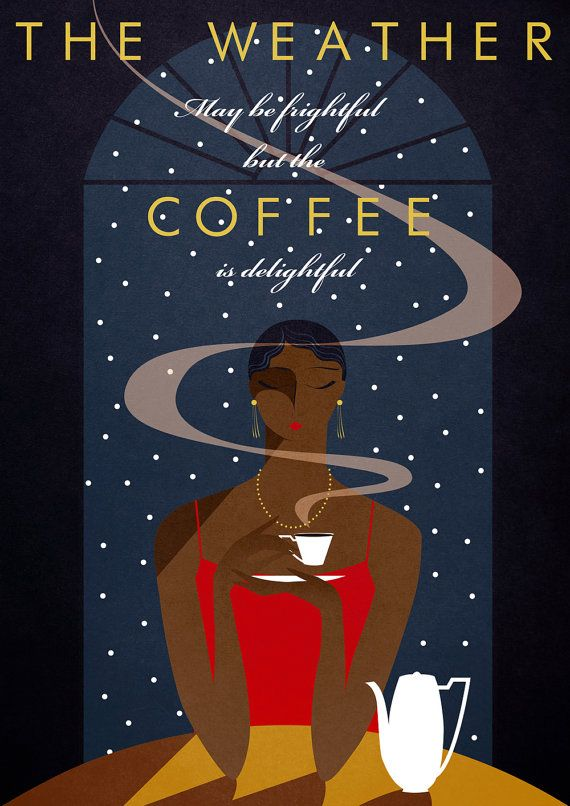 Winter Cafe Coffee Poster Print Snow Art Deco Style Etsy In 2021 Coffee Poster Poster Prints Art Deco Poster