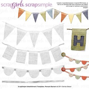 Scrapsimple Embellishment Templates Pennant Banners  Digi Crafts