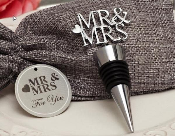 Mr Mrs Wine Stopper Favors In Chrome