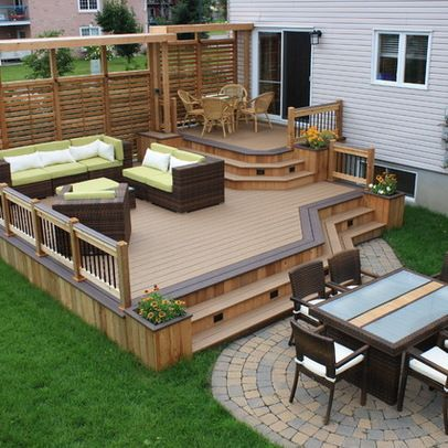 Beautiful wood deck design that could work for our house, a good example of  what to do around the window to the downstairs bedroom. - 20 Timber Decking Designs That Can Append Beauty Of Your Homes