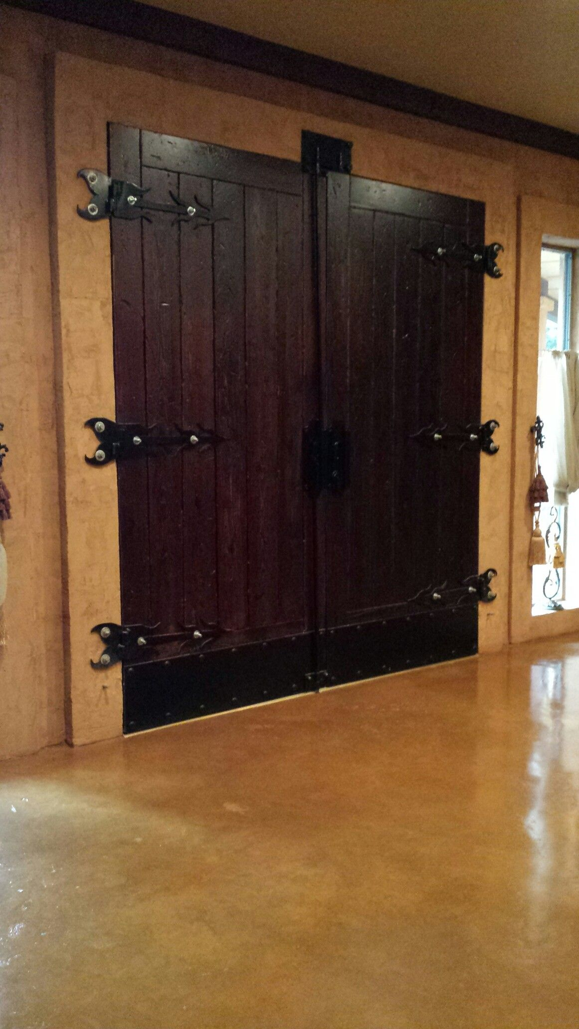 Our custom distressed entrance doors we built all of the