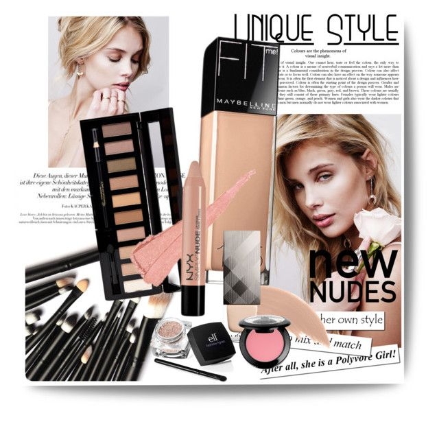 """""""NEW NUDES: EVERYWHERE"""" by going-to-be-famous ❤ liked on Polyvore featuring beauty, Forever 21, Maybelline, Bare Escentuals, Burberry, NYX, nude, NudeMakeup and newnudes"""