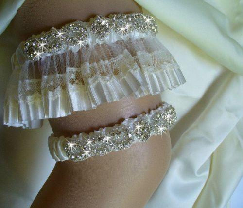 Rhinestone Wedding Garter With Italian Lace