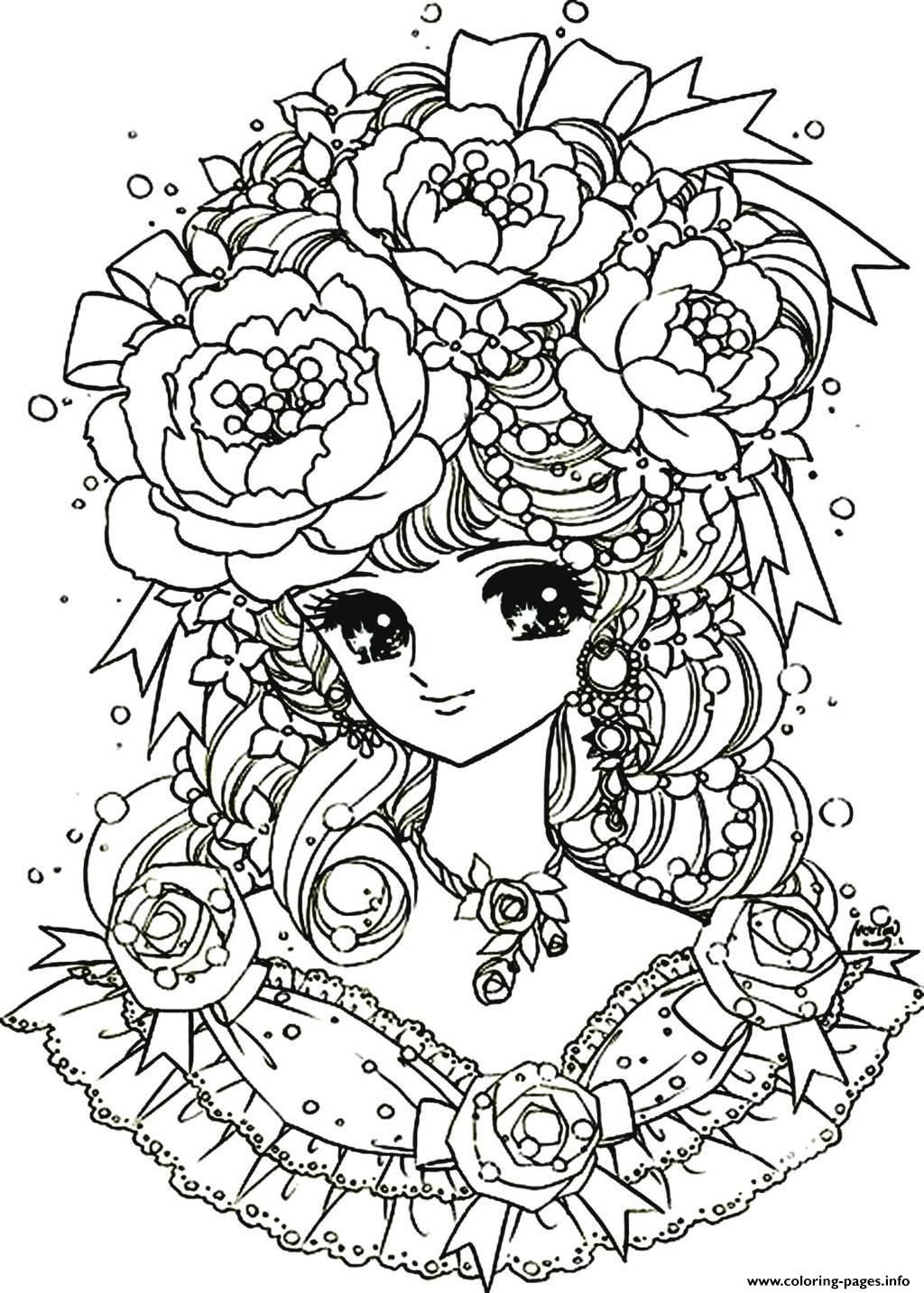 Flower coloring in pages - Print Adult Back To Childhood Manga Girl Flowers Coloring Pages