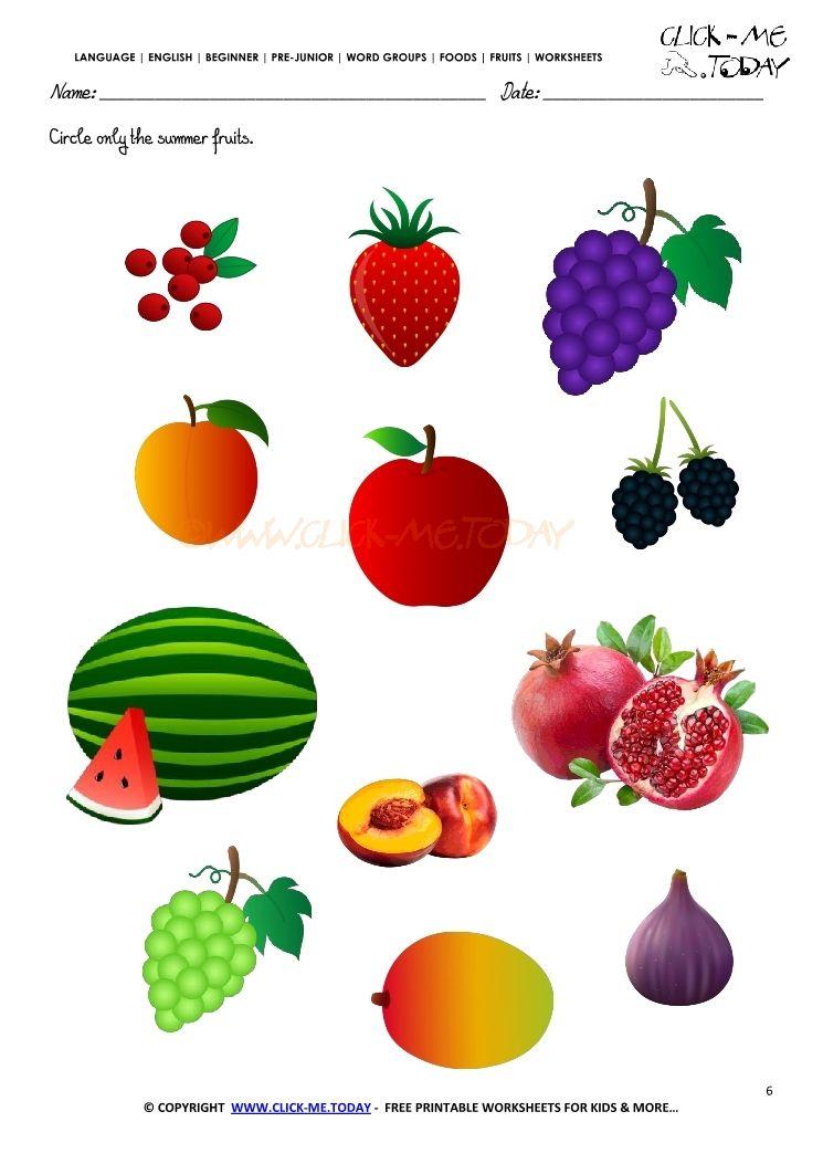 Pin On Kindergarten Worksheets Printable fruits worksheets for