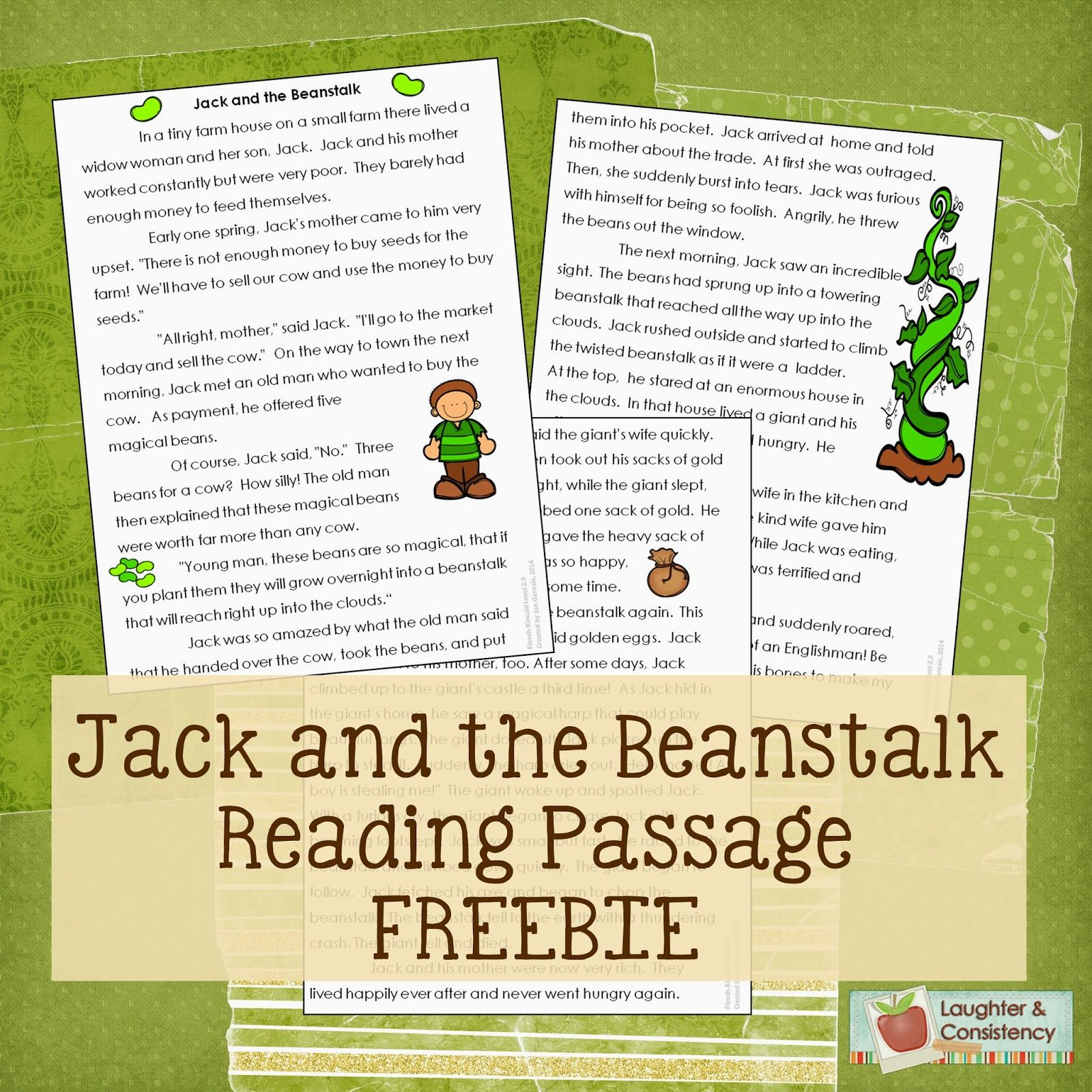 Jack And The Beanstalk Freebie Passage Use Along With Trust Me Jack S Beanstalk Stinks Great